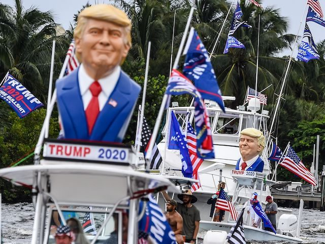 Supporters of US President Donald Trump participate in a boat rally in Fort Lauderdale, Florida, on October 3, 2020. (Chandan Khanna/AFP via Getty Images)