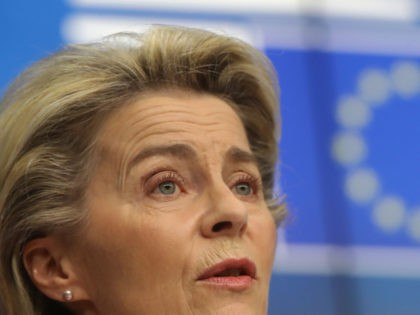 European Commission President Ursula von der Leyen speaks during a press conference with at the end of the first day of a two-days video conference of the Members of the European Council on the Covid-19 pandemic, in Brussels, on February 25, 2021. - EU council says EU leaders will take …