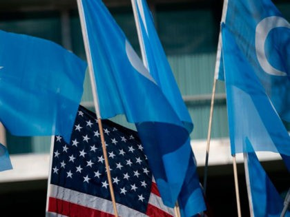 Uyghurs of the East Turkistan National Awakening Movement (ETNAM) hold a rally outside the US State Department calling on US President Joe Biden to increase pressure on the Chinese Communist Party, on February 5, 2021 in Washington, DC. (Photo by Alex Edelman / AFP) (Photo by ALEX EDELMAN/AFP via Getty …