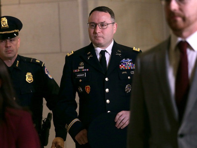 Army Lieutenant Colonel Alexander Vindman, Director for European Affairs at the National Security Council, arrives at a closed session before the House Intelligence, Foreign Affairs and Oversight committees October 29, 2019 at the U.S. Capitol in Washington, DC. (Alex Wong/Getty Images)