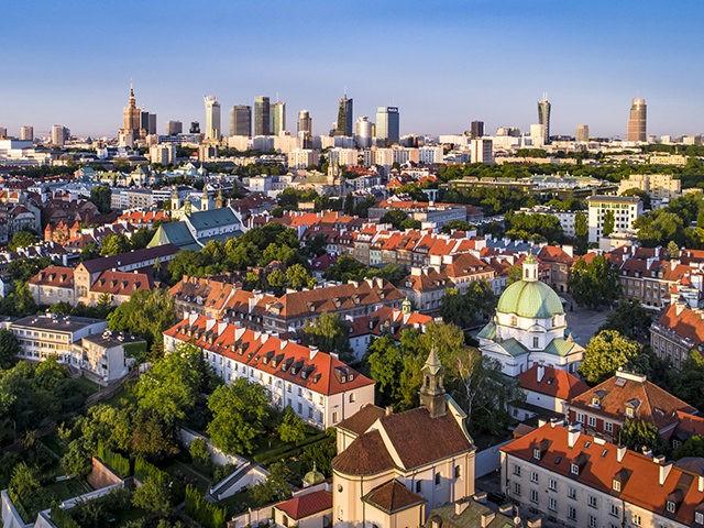 Warszawa Panorama miasta latem