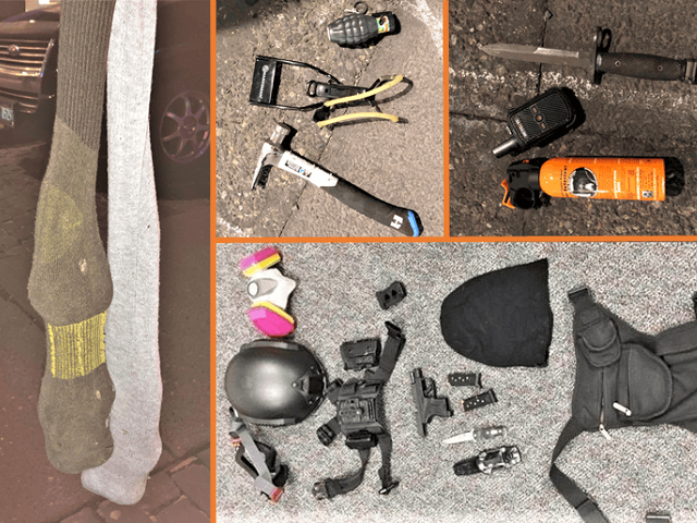 Weapons seized from Antifa rioters during a March 12 event in Portland, Oregon. (Photos: Portland Police Bureau)