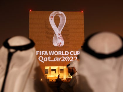 DOHA, QATAR - SEPTEMBER 03: The Official Emblem of the FIFA World Cup Qatar 2022™️ is unveiled in Doha's Souq Waqif on the Msheireb - Qatar National Archive Museum building on September 03, 2019 in Doha, Qatar. The FIFA World Cup Qatar 2022™️ Official Emblem was projected on to a …
