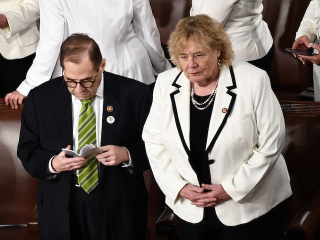 In this file photo, house Impeachmant managers Jerrold Nadler and Zoe Lofgren attend the State of the Union address at the US Capitol in Washington, DC, on February 4, 2020. (Brendan Smialowski/AFP via Getty Images)