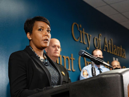 ATLANTA, GA - MARCH 17: Mayor Keisha Lance Bottoms speaks at a press conference on March 17, 2021 in Atlanta, Georgia. Suspect Robert Aaron Long, 21, was arrested after a series of shootings at three Atlanta-area spas left eight people dead on Tuesday night, including six Asian women. (Photo by …