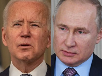 COMBO) This combination of pictures created on March 17, 2021 shows US President Joe Biden(L) during remarks on the implementation of the American Rescue Plan in the State Dining room of the White House in Washington, DC on March 15, 2021, and Russia's President Vladimir Putin during his working visit …