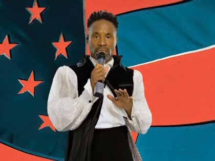 "In this image from video, Billy Porter and performs ""For What It's Worth"" with Steven Stills during the first night of the Democratic National Convention on Monday, Aug. 17, 2020. (Democratic National Convention via AP)"