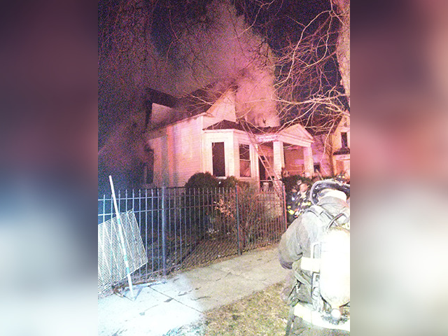 A firefighter almost fell through a staircase in a blaze March 18, 2021, in the 2000 block of West 68th Street. Chicago Fire Department