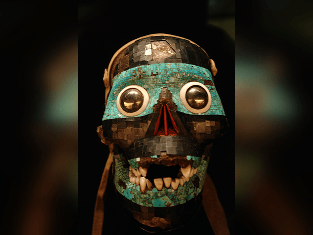 Turquoise mask representing the god Tezcatlipoca, from the British Museum.