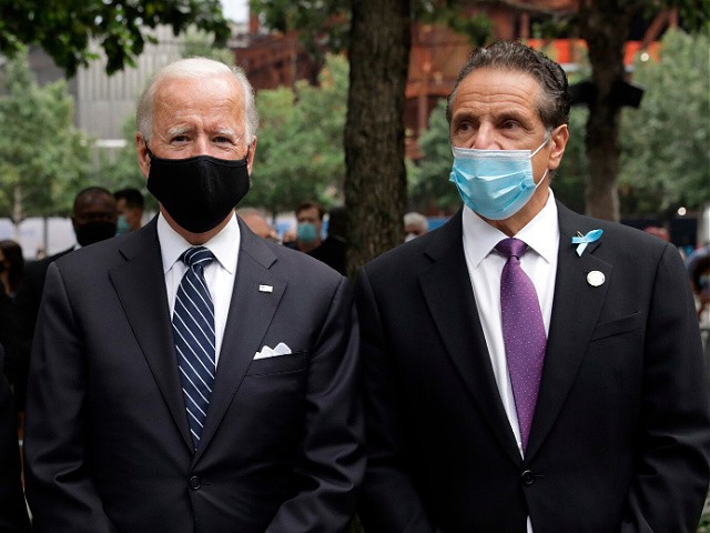 Democratic presidential candidate Joe Biden, with ghis wife Jill Biden and New york Governor Andrew Cuomo, attends the 19th September 11 commemoration ceremony at the National September 11 Memorial & Museum in New York, September 11, 2020. (Photo by AMR ALFIKY / POOL / AFP) (Photo by AMR ALFIKY/POOL/AFP via Getty Images)