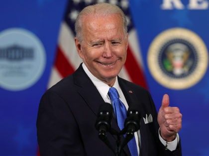 WASHINGTON, DC - MARCH 10: U.S. President Joe Biden speaks during an event with the CEOs of Johnson & Johnson and Merck at the South Court Auditorium of the Eisenhower Executive Office Building March 10, 2021 in Washington, DC. President Biden announced that the government will purchase 100 million more …