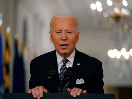 President Joe Biden speaks about the COVID-19 pandemic during a prime-time address from the East Room of the White House, Thursday, March 11, 2021, in Washington. (AP Photo/Andrew Harnik)