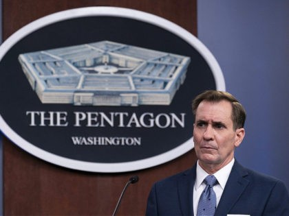 FILE - In this Wednesday, Feb. 17, 2021, file photo, Pentagon spokesman John Kirby speaks during a media briefing at the Pentagon, in Washington. Kirby announced late Thursday, Feb. 25, 2021, that the U.S. military conducted airstrikes against facilities in eastern Syria that the Pentagon said were used by Iran-backed …