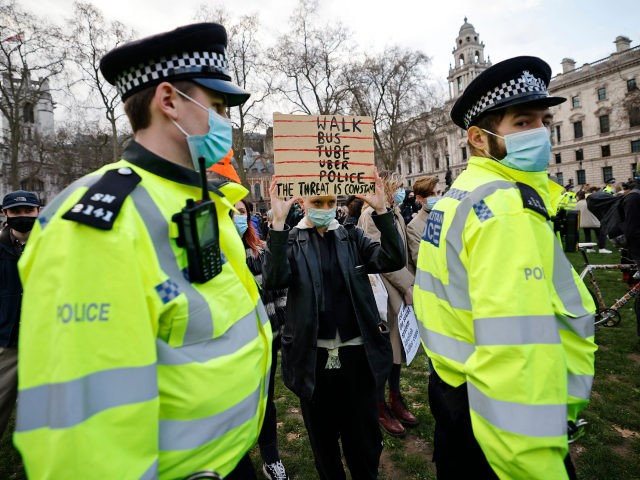 Protestors assemble in Parliament Square to demonstrate against Government's Police, Crime, Sentencing and Courts Bill, being debated in Parliament in London on March 15, 2021. (Photo by Tolga Akmen / AFP) (Photo by TOLGA AKMEN/AFP via Getty Images)