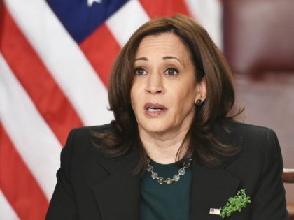 US Vice President Kamala Harris speaks on the Atlanta area shootings before a virtual bilateral meeting with Ireland's Prime Minister Micheal Martin in the Vice President's Ceremonial Office in the Eisenhower Executive Office Building, next to the White House in Washington, DC on March 17, 2021. (Photo by MANDEL NGAN …