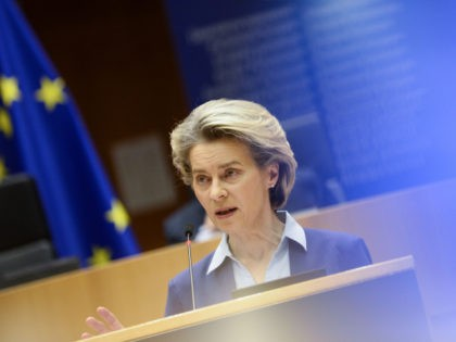 European Commission President Ursula Von Der Leyen gives a speech about the European Union's vaccine strategy, at the European Parliament in Brussels, on February 10, 2021. - Leaders of the European Union have been engaged in bitter public rows with pharmaceutical firms over supply shortages, as they faced public anger …