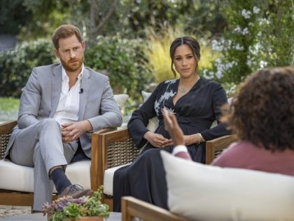 "This image provided by Harpo Productions shows Prince Harry, left, and Meghan, Duchess of Sussex, in conversation with Oprah Winfrey. ""Oprah with Meghan and Harry: A CBS Primetime Special"" airs March 7, 2021. Britain's royal family and television have a complicated relationship. The medium has helped define the modern monarchy: …"