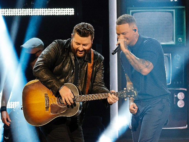 NASHVILLE, TENNESSEE - APRIL 18: (L-R) In this image released on April 18, Chris Young and Kane Brown perform onstage at the 56th Academy of Country Music Awards at the Ryman Auditorium on April 18, 2021 in Nashville, Tennessee. (Photo by Jason Kempin/Getty Images for ACM)