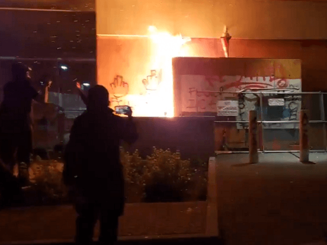Antifa sets fire to ICE building in Portland, OR. (Twitter Video Screenshot/Andy Ngo)