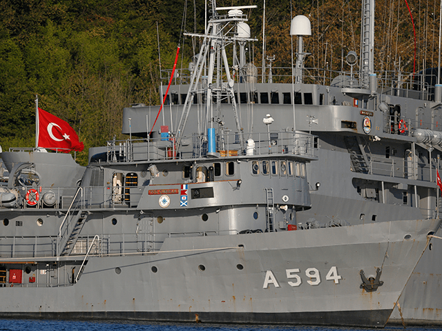 Turkish Navy vessels are docked at a military port base in the Bosporus strait, in the outskirts of Istanbul, close to the Black Sea, Thursday, April 27, 2017. A Russian naval reconnaissance ship sank Thursday after colliding with a freighter off Istanbul, but all crew members were rescued, the Defense …