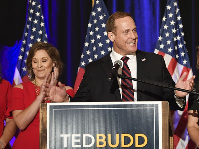 CORRECTS DATE TO NOV. 6, INSTEAD OF NOV. 5 - U.S. Rep. Ted Budd, R-N.C., speaks to supporters in Bermuda Run, N.C., on Tuesday, Nov. 6, 2018, after defeating Kathy Manning in North Carolina's 13th Congressional District race. (AP Photo/Woody Marshall)