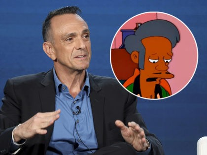 """(INSET: """"Simpsons"""" character Apu) Hank Azaria speaks at the AMC's """"Brockmire"""" panel during the AMC Networks TCA 2020 Winter Press Tour at the Langham Huntington on Thursday, Jan. 16, 2020, in Pasadena, Calif. (Photo by Willy Sanjuan/Invision/AP)"""
