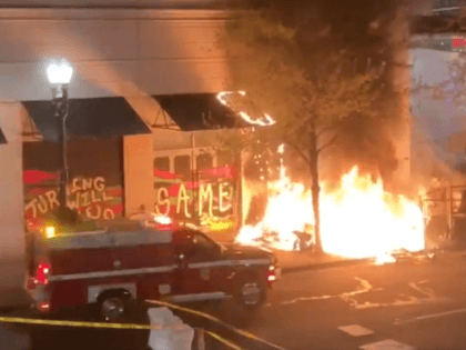 Antifa rioters set an Apple Store on fire during a pre-announced Direct Action in Portland, Oregon on April 16. (Twitter Video Screenshot/Suzette Smith)
