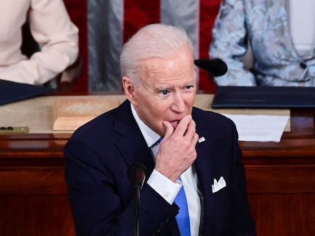 US President Joe Biden addresses a joint session of Congress as US Vice President Kamala Harris and US Speaker of the House Nancy Pelosi listen at the US Capitol in Washington, DC, on April 28, 2021. (Photo by JIM WATSON / POOL / AFP) (Photo by JIM WATSON/POOL/AFP via Getty …