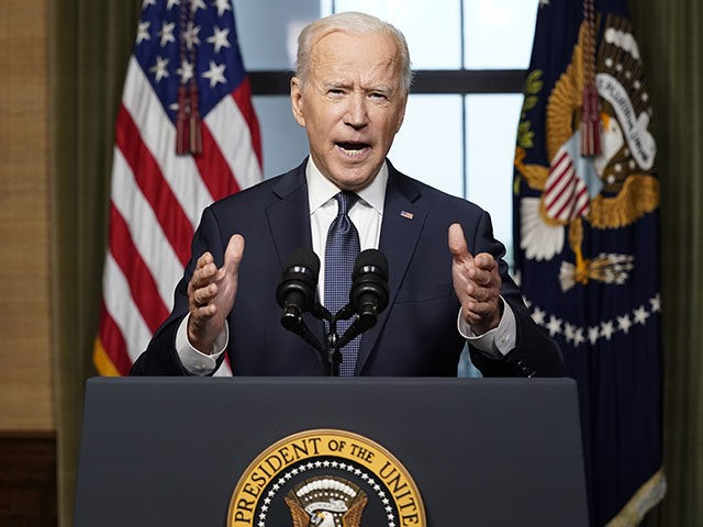 WASHINGTON, DC - APRIL 14: U.S. President Joe Biden speaks from the Treaty Room in the White House about the withdrawal of U.S. troops from Afghanistan on April 14, 2021 in Washington, DC. President Biden announced his plans to pull all remaining U.S. troops out of Afghanistan by September 11, …