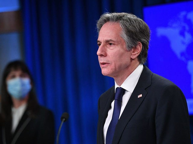 US Secretary of State Antony Blinken speaks during the release of the 2020 Country Reports on Human Rights Practices, at the State Department in Washington, DC on March 30, 2021. (Photo by MANDEL NGAN / POOL / AFP) (Photo by MANDEL NGAN/POOL/AFP via Getty Images)