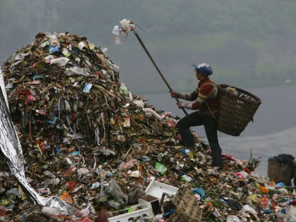 A scavenger picks up plastic bags at an open dump on April 2, 2008 in Chongqing Municipality, China. The Chinese government has announced a nationwide ban on stores distributing free ultra-thin plastic bags from June 1, 2008. The new rule says all retailers have to clearly indicate the price of …