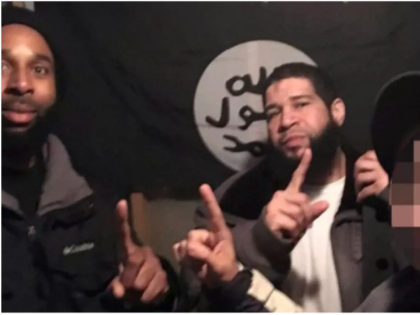 Joseph D. Jones, left, and Edward Schimenti, center, caught on camera with a confidential FBI source prosecutors say the two men believed was an ISIS supporter. Prosecutors blurred the source's face, right. U.S. District Court