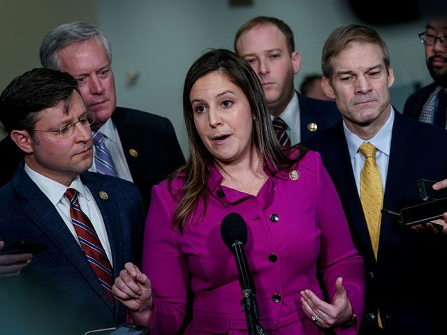 WASHINGTON, DC - JANUARY 23: (L-R) Rep. Mike Johnson (R-LA), Rep. Mark Meadows (R-NC), Rep. Elise Stefanik (R-NY), Rep. Lee Zeldin (R-NY), and Rep. Jim Jordan (R-OH) speak with reporters in the Senate subway before the impeachment trial of President Donald Trump resumes at the U.S. Capitol on January 23, …
