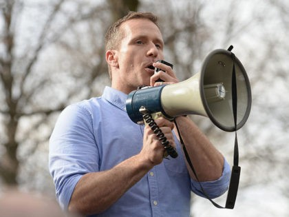UNIVERSITY CITY, MO - FEBRUARY 22: Missouri Governor Eric Greitens addresses the crowd at Chesed Shel Emeth Cemetery on February 22, 2017 in University City, Missouri. Greitens and US Vice President Mike Pence were on hand to speak to over 300 volunteers who helped cleanup after the recent vandalism. Since …