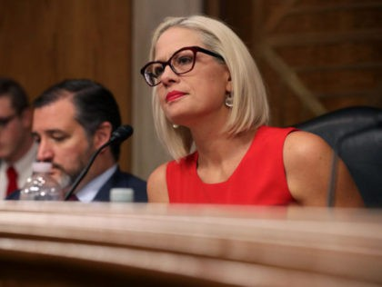 WASHINGTON, DC - MAY 14: Senate Aviation and Space Subcommittee ranking member Sen. Kyrsten Sinema questions witnesses during a hearing in the Dirksen Senate Office Building on Capitol Hill on May 14, 2019 in Washington, DC. In the wake of President Donald Trump's orders to create a military Space Force, …