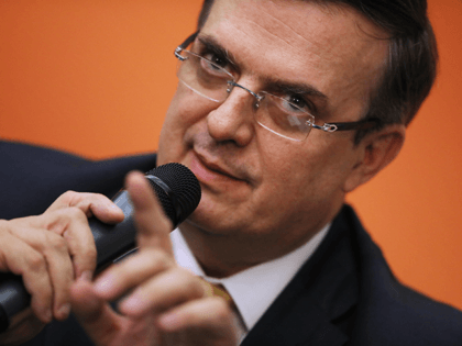 Mexican Foreign Affairs Secretary Marcelo Ebrard holds a news conference at the Mexican Embassy following talks with U.S. Vice President Mike Pence and Secretary of State Mike Pompeo June 05, 2019 in Washington, DC. Leaders from Mexico and the United States are holding emergency meetings following President Donald Trump's threat …