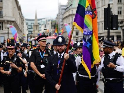 LONDON, ENGLAND - JULY 06: Members of the police during Pride in London 2019 on July 06, 2019 in London, England. (Photo by Chris J Ratcliffe/Getty Images for Pride in London)