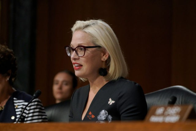 WASHINGTON, DC - JULY 10: U.S. Senator Kyrsten Sinema speaks at the at the hearing on Type 1 Diabetes at the Dirksen Senate Office Building on July 10, 2019 in Washington, DC. (Photo by Jemal Countess/Getty Images for JDRF)
