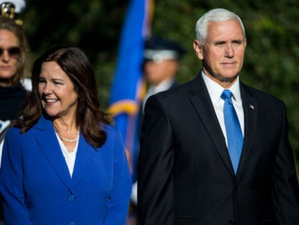 WASHINGTON, DC - SEPTEMBER 20: U.S. Second Lady Karen Pence and Vice President Mike Pence attend an official visit ceremony welcoming Australian Prime Minister Scott Morrison and Australian first lady Jennifer Morrison at the South Lawn at the White House September 20, 2019 in Washington, DC. Prime Minister Morrison will …