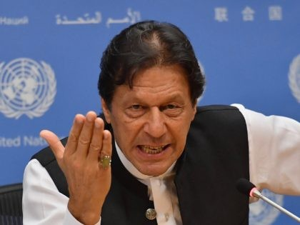 Pakistani Prime Minister Imran Khan speaks during a press conference at the United Nations Headquarters in New York on September 24, 2019. - Khan said Tuesday that both the United States and Saudi Arabia asked him to mediate with Iran to defuse tensions. (Photo by Angela Weiss / AFP) (Photo …
