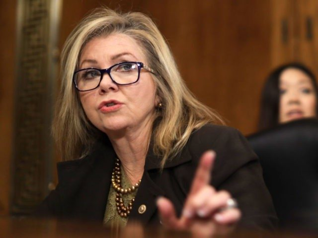 """WASHINGTON, DC - DECEMBER 10: U.S. Sen. Marsha Blackburn (R-TN) speaks during a hearing before Senate Judiciary Committee December 10, 2019 on Capitol Hill in Washington, DC. The committee held a hearing on """"Encryption and Lawful Access: Evaluating Benefits and Risks to Public Safety and Privacy."""" (Photo by Alex Wong/Getty …"""