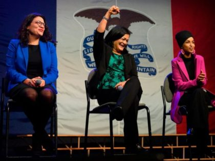 US Congresswoman Rashida Tlaib (L), D-MI, US Congresswoman Pramila Jayapal (C), D-WA and US Congresswoman Ilhan Omar, D-MN, speak to supporters of Democratic presidential candidate Senator Bernie Sanders at a campaign event in Clive, Iowa, on January 31, 2020. (Photo by JIM WATSON / AFP) (Photo by JIM WATSON/AFP via …