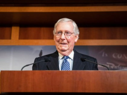 WASHINGTON, DC - FEBRUARY 05: Senate Majority Leader Mitch McConnell (R-KY) holds a press conference after the Senate voted to acquit President Donald Trump on the two articles of impeachment on Capitol Hill on February 5, 2020 in Washington, DC. After the House impeached Trump last year, the Senate tried …