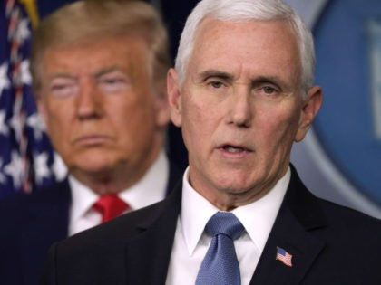 WASHINGTON, DC - FEBRUARY 29: U.S. President Donald Trump listens as Vice President Mike Pence speaks during a news conference at the James Brady Press Briefing Room at the White House February 29, 2020 in Washington, DC. Department of Health in Washington State has reported the first death in the …