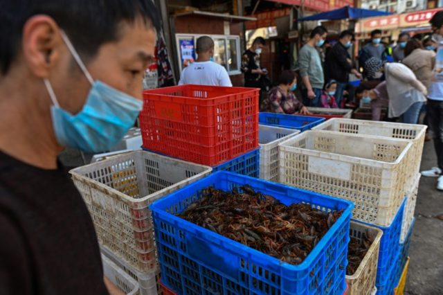 "This photo taken on April 15, 2020 shows s basket of prawns at a shop at the Wuhan Baishazhou Market in Wuhan in China's central Hubei province. - China's ""wet"" markets have gained a bad international reputation as the coronavirus roiling the world is believed to have been born in …"