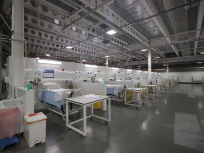 Beds and medical emquipment are seen on a ward at the NHS Nightingale temporary hospital at the convention centre in Harrogate, northern England on April 21, 2020 during its official opening. (Photo by Danny Lawson / POOL / AFP) (Photo by DANNY LAWSON/POOL/AFP via Getty Images)