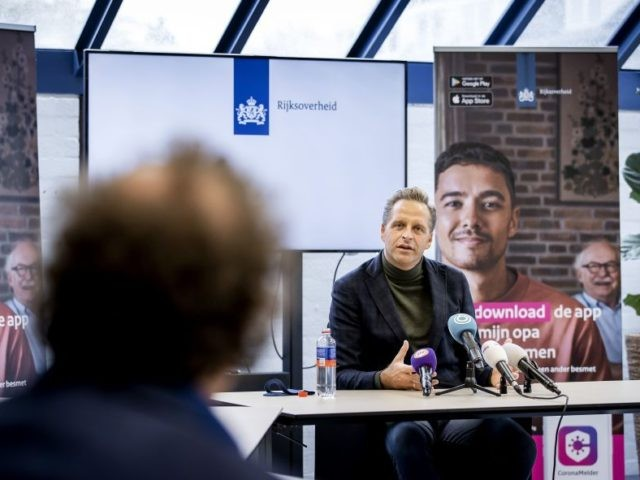 Dutch Minister of Health, Welfare and Sport Hugo de Jonge speaks during the presentation of the app CoronaMelder (CoronaNotifier), implemented to curb the spread of the Covid-19 (novel coronavirus) outbreak, on October 10, 2020, in Nijmegen. - The app informs the user when they have been near another user who …