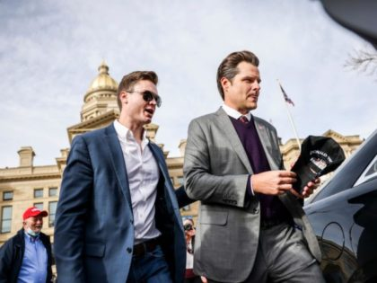 CHEYENNE, WY - JANUARY 28: Rep. Matt Gaetz (R-FL) (R) leaves the Wyoming State Capitol after speaking to a crowd during a rally against Rep. Liz Cheney (R-WY) on January 28, 2021 in Cheyenne, Wyoming. Gaetz added his voice to a growing effort to vote Cheney out of office after …