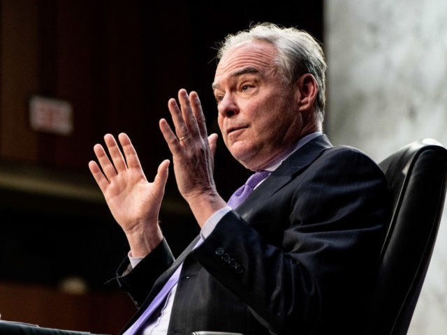 US Senator Tim Kaine speaks during a Senate Health, Education, Labor and Pensions Committee hearing on the federal coronavirus response on Capitol Hill in Washington, DC, March 18, 2021. (Photo by Anna Moneymaker / POOL / AFP) (Photo by ANNA MONEYMAKER/POOL/AFP via Getty Images)