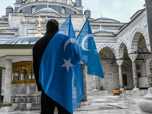 A protester from the Uyghur community living in Turkey stands with flags in the Beyazit mosque during a protest against the visit of China's Foreign Minister to Turkey, in Istanbul on March 25, 2021. - Hundreds protested against the Chinese official visit and what they allege is oppression by the …
